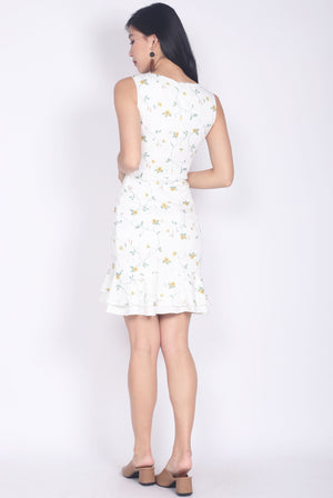 Callidora Floral Mermaid Tiered Dress In White
