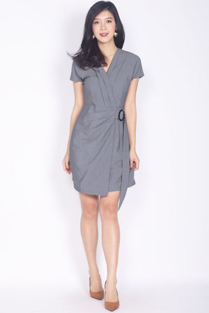 Calliope Ring Sash Wrap Dress In Grey