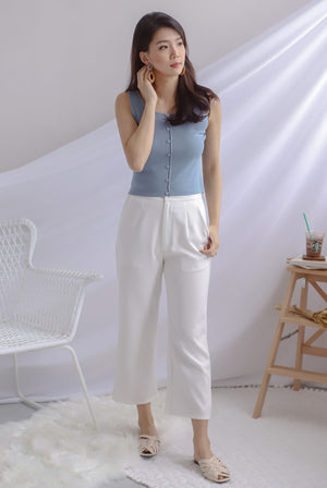 Cally Buttons Tank Top In Ash Blue