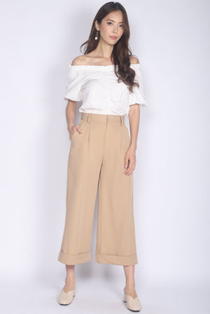 Camberlie Fold Up Flare Pants In Khaki