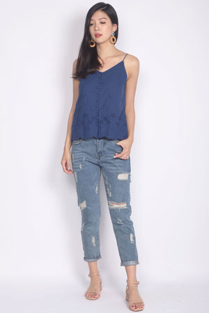 Camelot Eyelet Camisole Top In Navy Blue