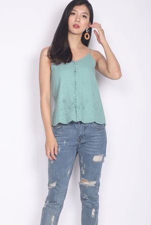 Camelot Eyelet Camisole Top In Sage Green