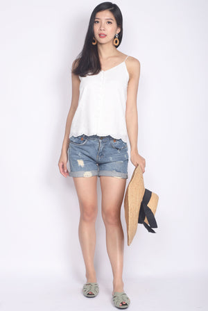 Camelot Eyelet Camisole Top In White