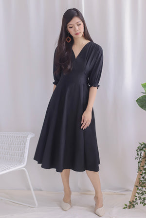 *Premium* Cameron Puffy Sleeve Dress In Black