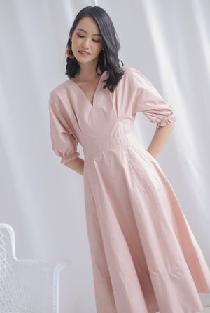 *Premium* Cameron Puffy Sleeve Dress In Blush