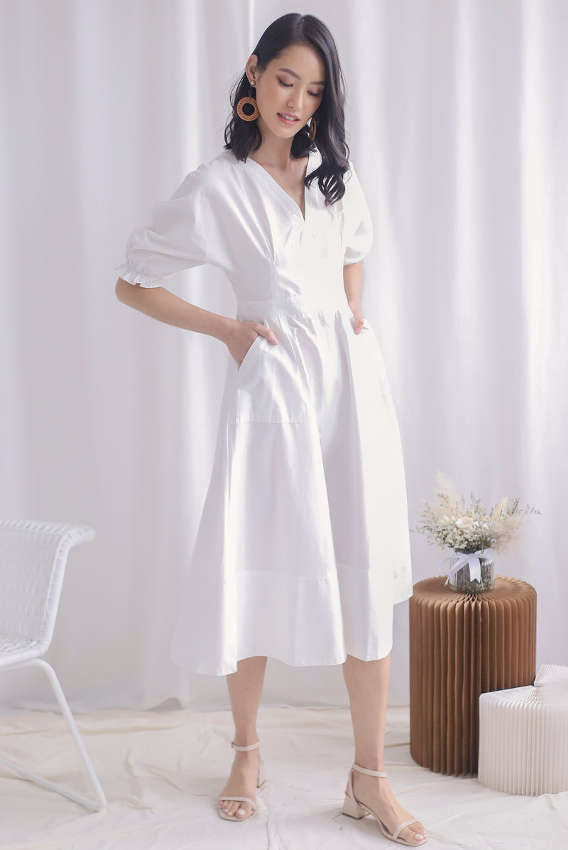 *Premium* Cameron Puffy Sleeve Dress In White