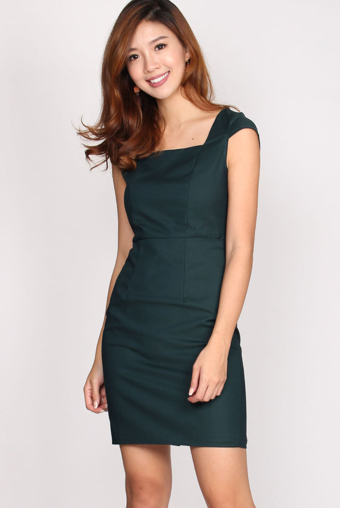 Camille Square Neck Pencil Dress In Forest Green