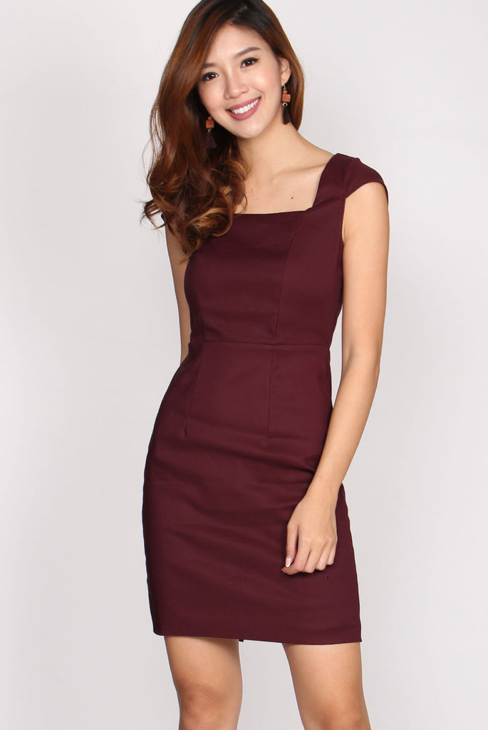 Camille Square Neck Pencil Dress In Wine Red