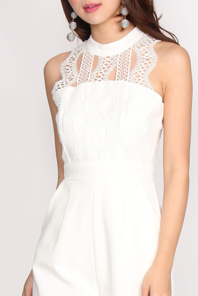 Campbell Crochet Halter Jumpsuit In White