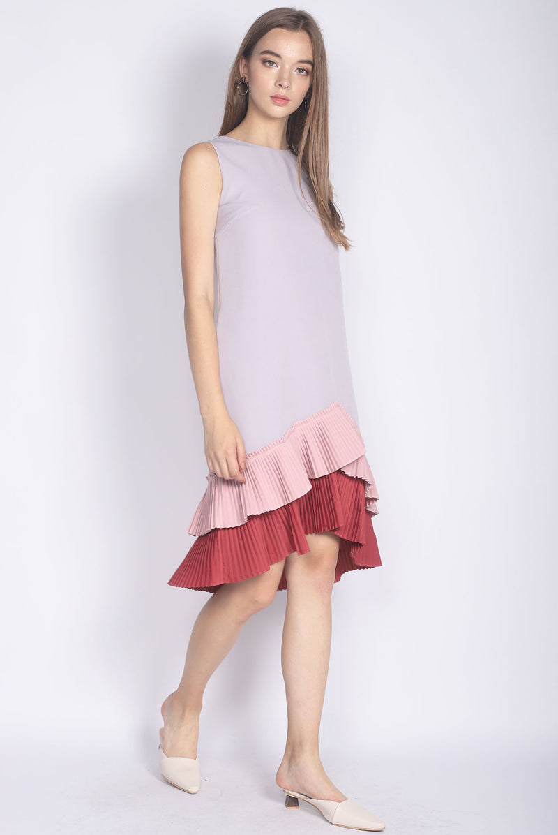Camylle Colour Block Pleated Hem Midi Dress In Grey