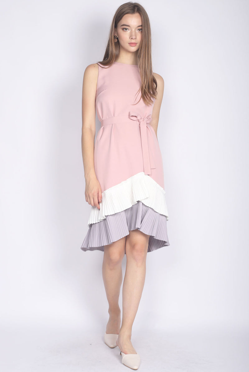 Camylle Colour Block Pleated Hem Midi Dress In Pink