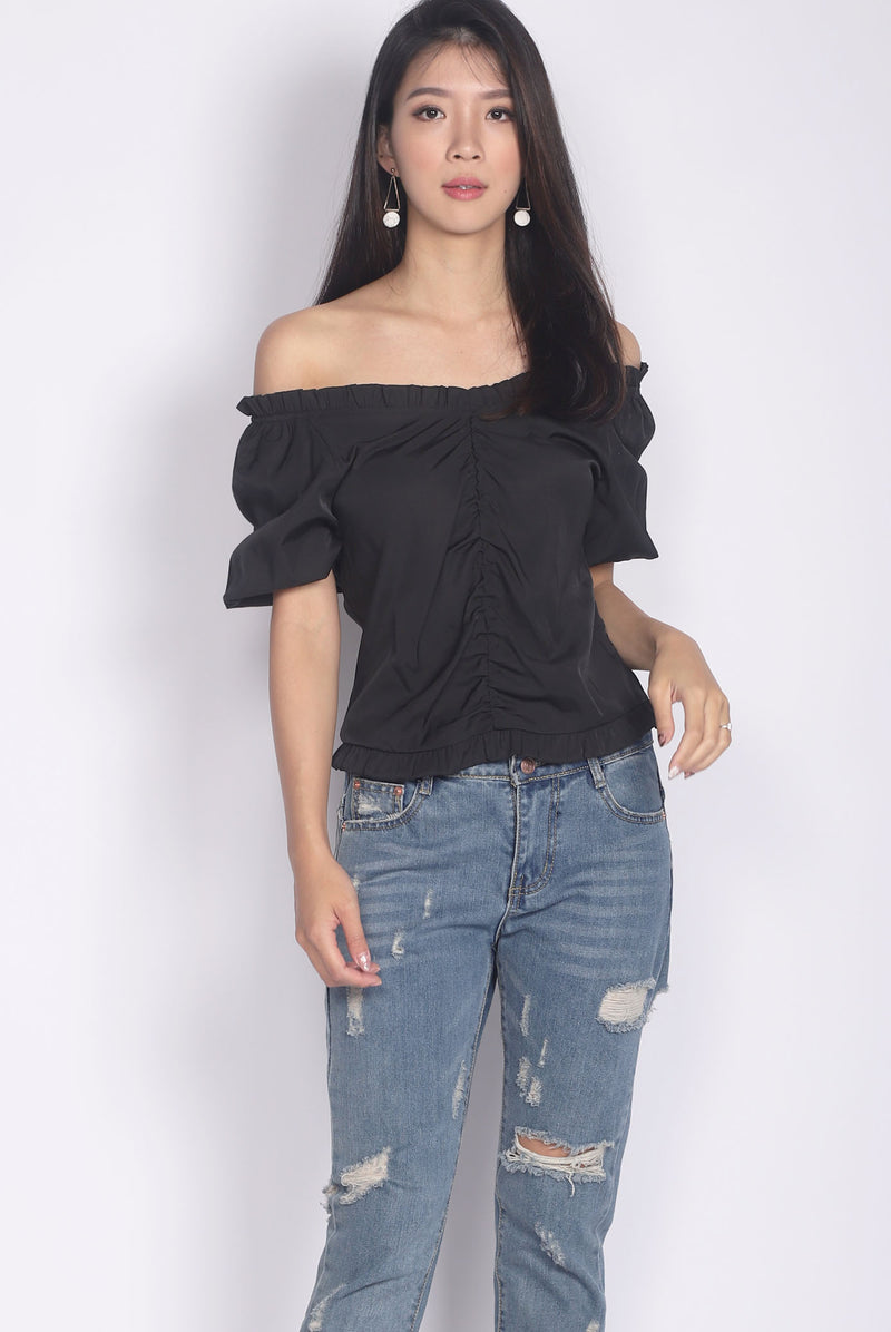 Candela Off Shoulder Top In Black