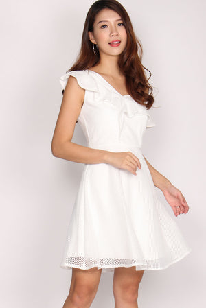 Candide Drop Shoulder Dress In White