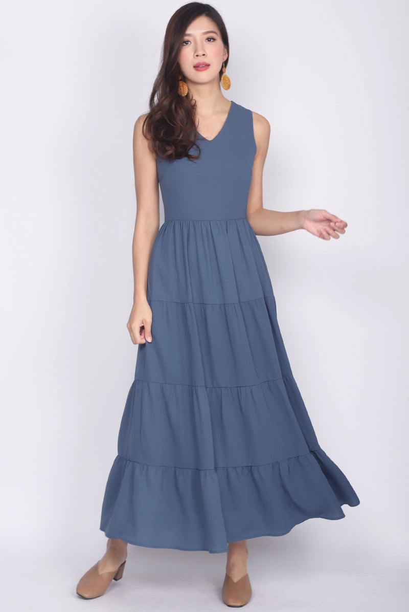 Cantara Tiered Maxi Dress In Ash Blue