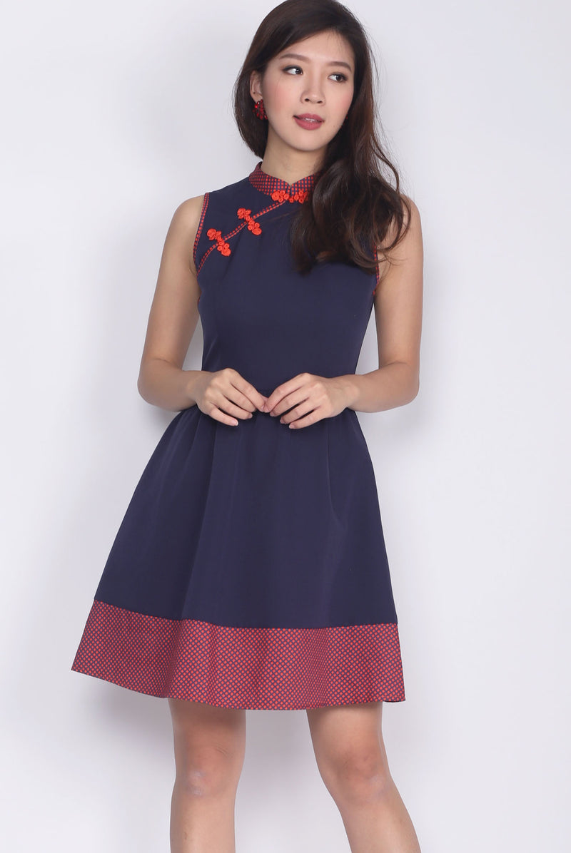 Carensa Dotti Cheong Sam Dress In Navy Blue