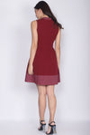 Carensa Dotti Cheong Sam Dress In Wine Red