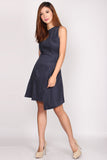 Carina Asymm Stripes Dress In Navy Blue