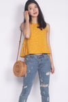 Carine Ruffle Back Top In Mustard