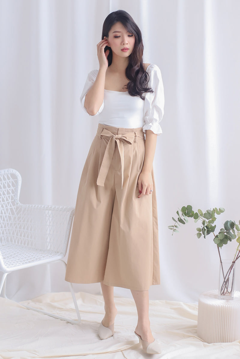 Carlo Paperbag Culottes In Khaki