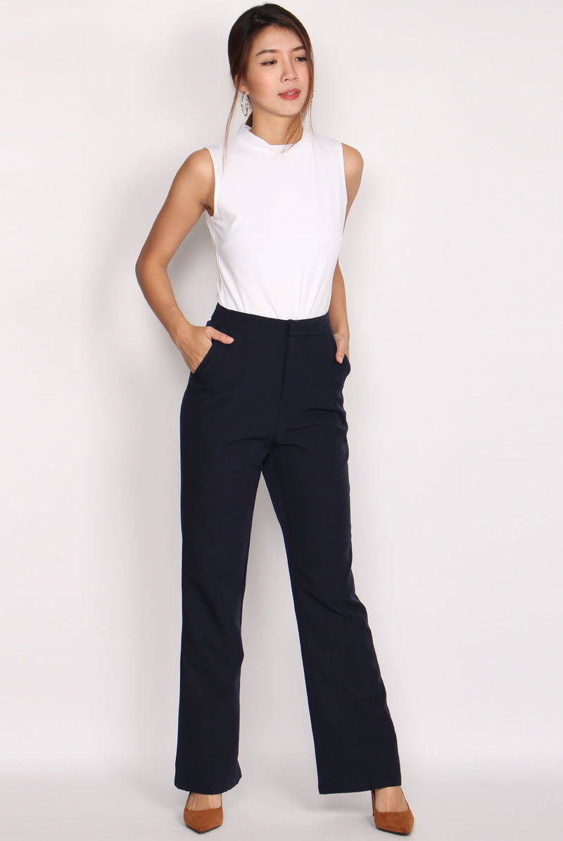 Carlo High Waist Boot Leg Pants In Midnight Blue