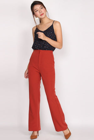 Carlo High Waist Boot Leg Pants In Rust