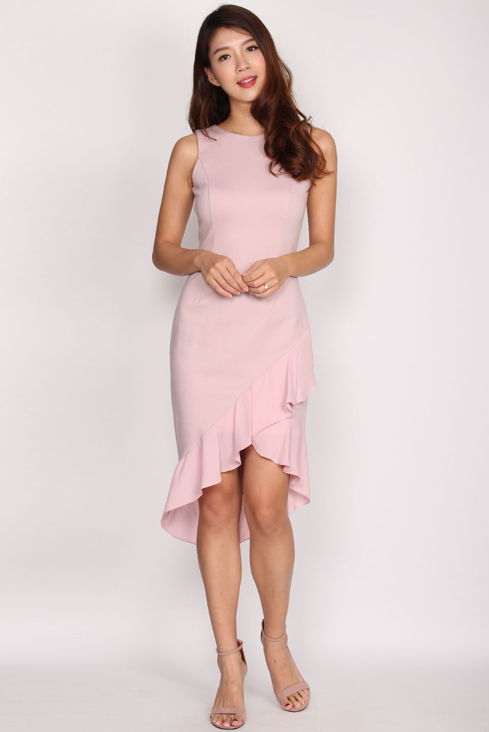 *Premium* Casey Mermaid Frill Dress In Blush
