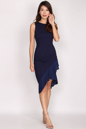 *Premium* Casey Mermaid Frill Dress In Navy Blue
