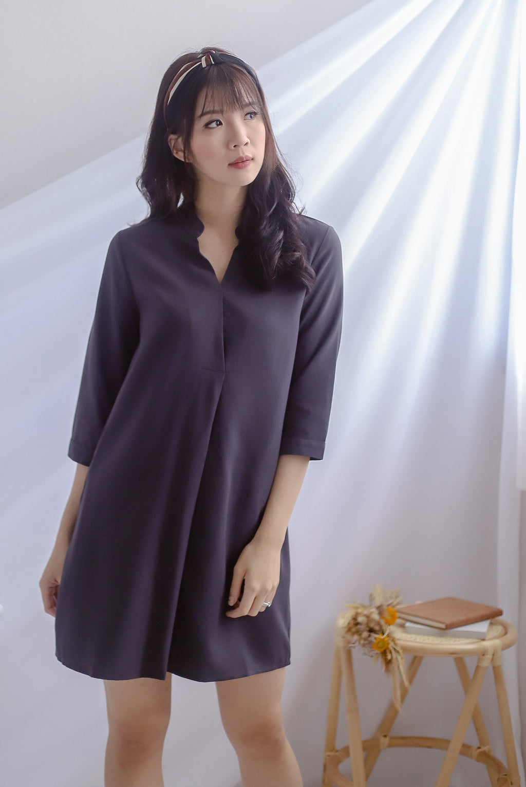 Cati Shirt Sleeved Dress In Dark Grey