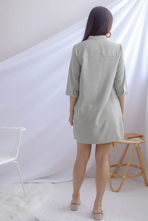 Cati Shirt Sleeved Dress In Sage