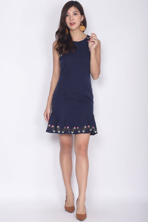 Cavette Embro Drop Hem Dress In Navy Blue