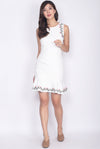 Cavette Embro Drop Hem Dress In White
