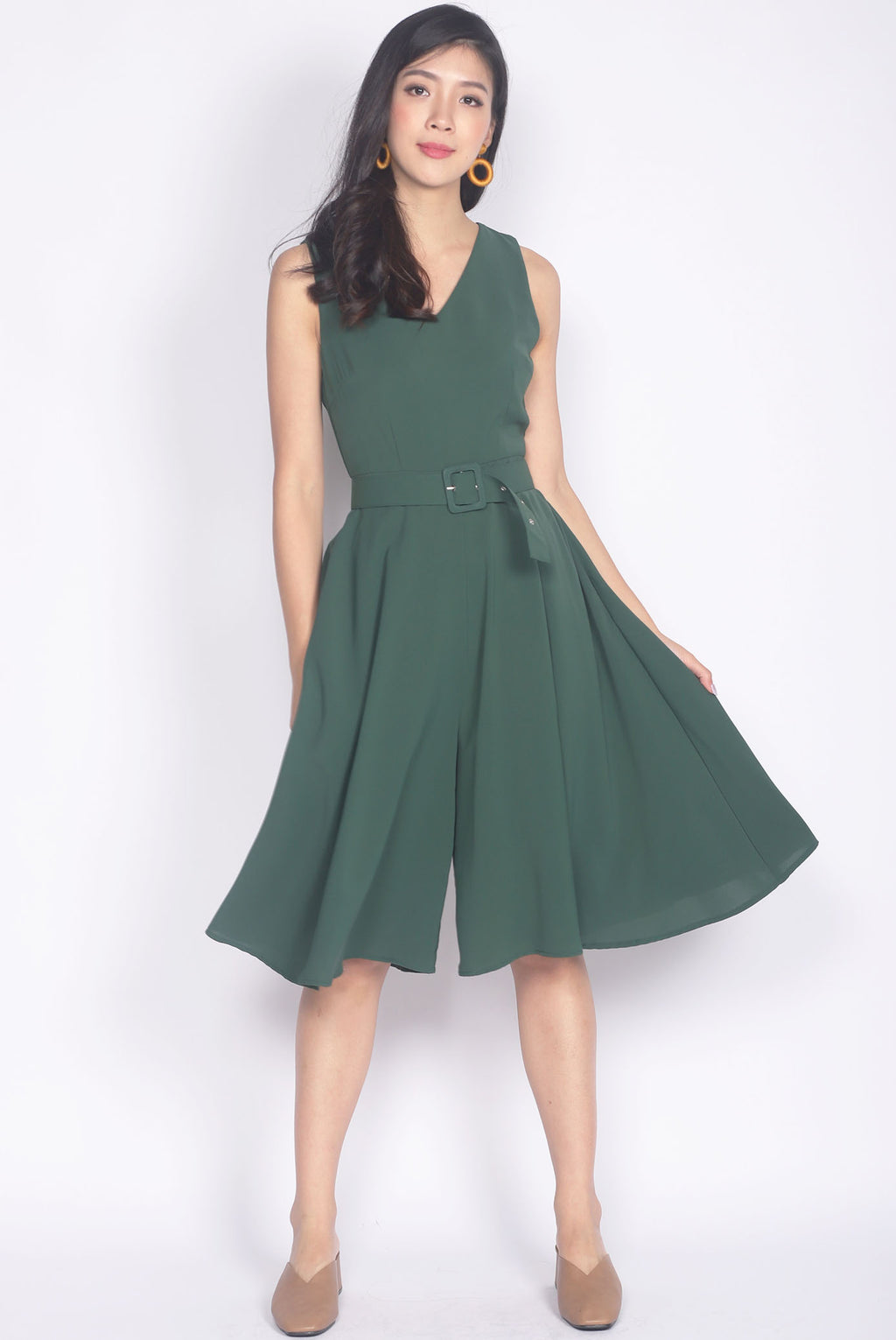 Cedrella Belted Flare Jumpsuit In Forest Green