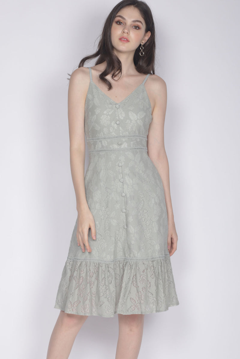 Celida Leaves Lace Buttons Dress In Sage