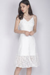 Celida Leaves Lace Buttons Dress In White