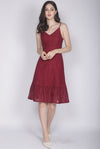 Celida Leaves Lace Buttons Dress In Wine Red