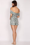 Cendrillon Sketch Off Shoulder Romper In Dusty Mint