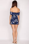 Cendrillon Sketch Off Shoulder Romper In Navy Blue