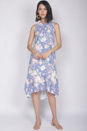 Cerci Removable Oriental Collar Dress In Periwinkle