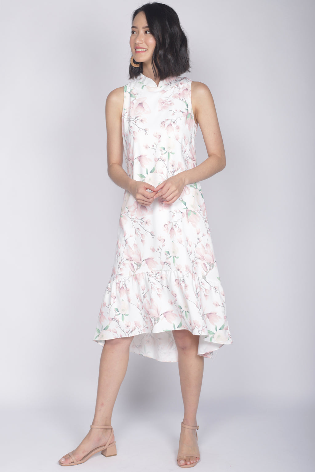 Cerci Removable Oriental Collar Dress In White
