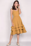 Ceridwen Tiered Midi Dress In Mustard