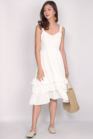 Ceridwen Tiered Midi Dress In White