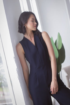 *Premium* Chanelle Classy Jumpsuit In Navy Blue