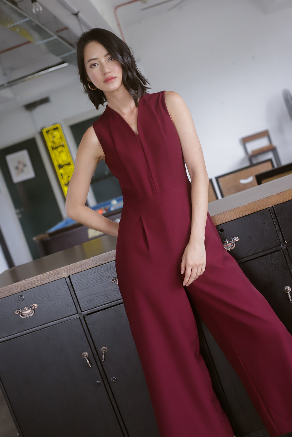 *Premium* Chanelle Classy Jumpsuit In Wine Red