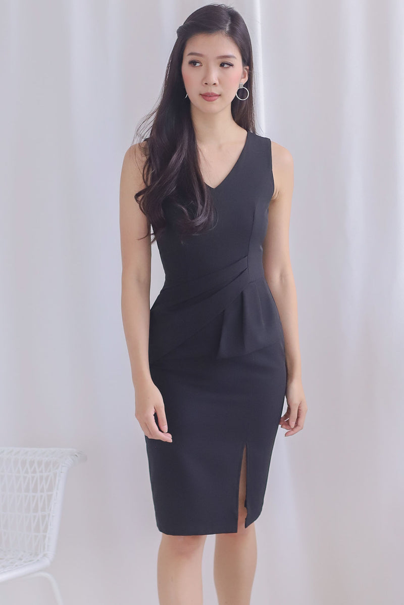 Chappell Origami Slit Dress In Black