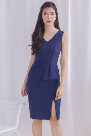 Chappell Origami Slit Dress In Navy Blue