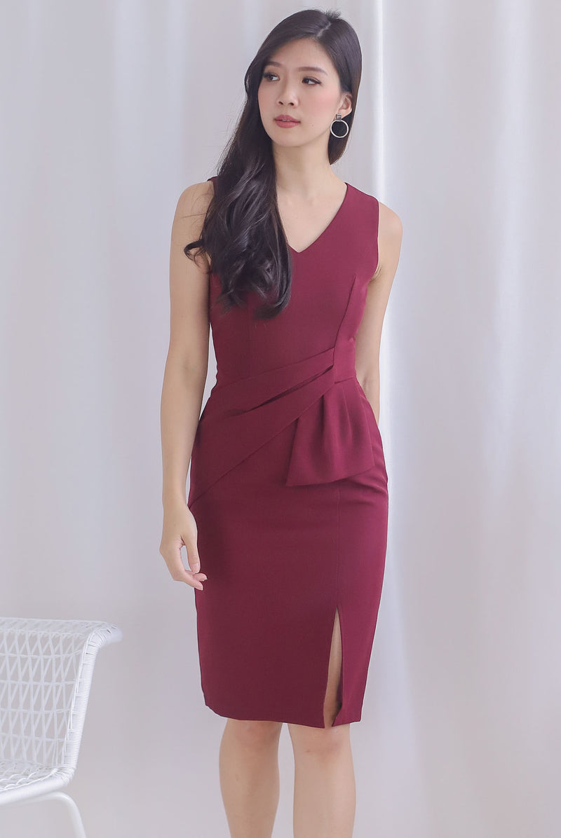 Chappell Origami Slit Dress In Wine Red