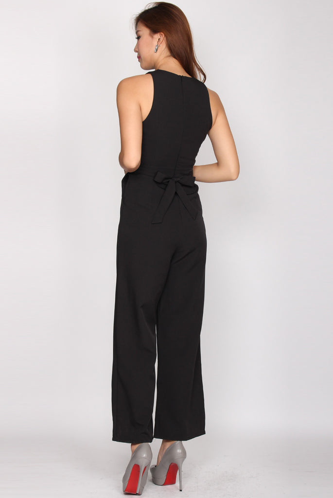 Charley Tie Waist Cut Out Jumpsuit In Black