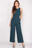 Charley Tie Waist Cut Out Jumpsuit In Teal