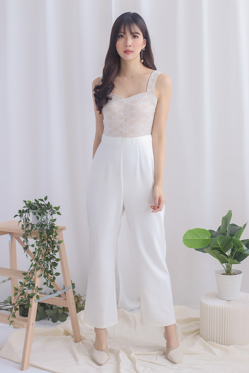 *Premium* Charli Lace Jumpsuit In White