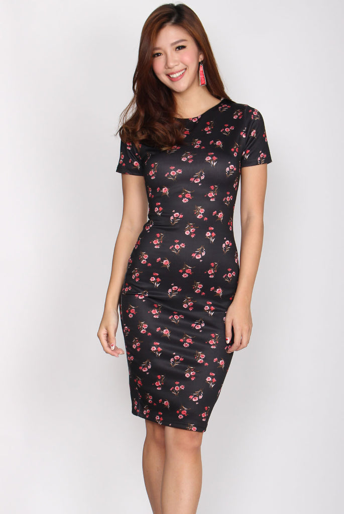 Charmaine Floral Pencil Dress In Black